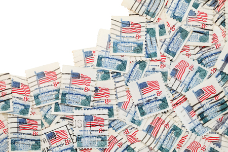 used US postage stamp on white background