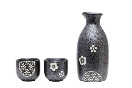 japanese sake: botella de sake japon�s Foto de archivo