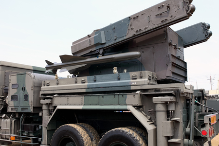 Military vehicle with small missile system photo