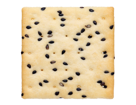 cracker with sesame on white background
