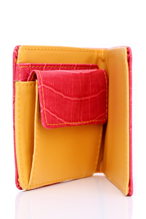 billfold: leather wallet on a white background   Stock Photo