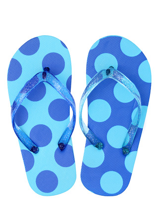 Pair of flip flop sandals isolated on white background photo