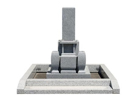 Japanese tomb stone isolated on white background