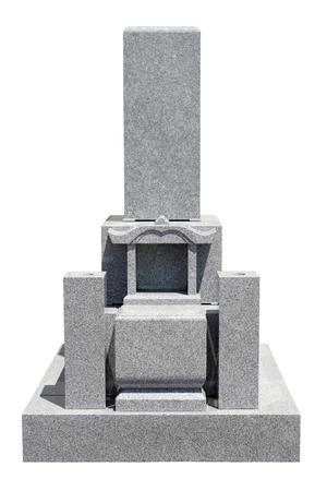 Japanese tomb stone isolated on white background photo