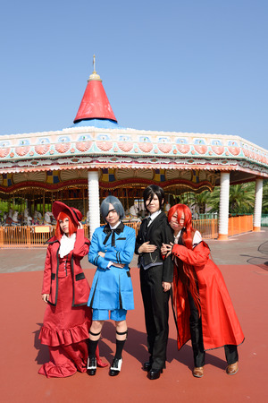 roleplaying: Kagawa, Japan - Sept 28th, 2014 - Japanese young girls who participated in costume play rally of the outdoors, at Reoma World Park.