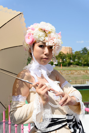 Kagawa, Japan - Sept 28th, 2014 - Japanese young girl who participated in costume play rally of the outdoors, at Reoma World Park.