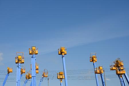 crane bucket: Cherry picker platform against a blue sky Stock Photo
