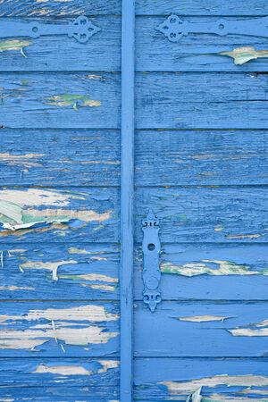 Part of old wooden blue door photo