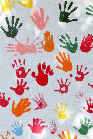 colorful hand prints on white wall background photo