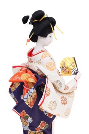 kanzashi: Traditional Japanese geisha doll isolated on white background