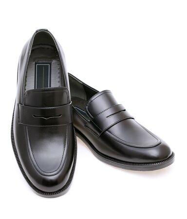 Black leather mens shoes, no shoe string photo