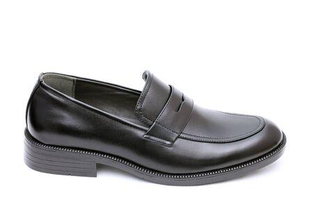 shoe string: Black leather mens shoe, no shoe string