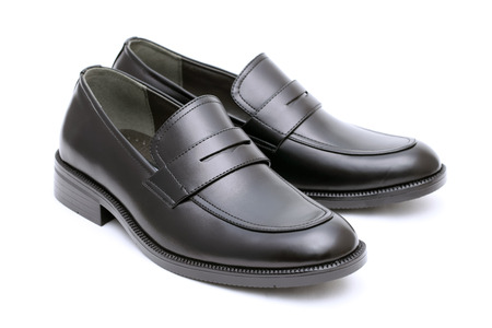 men s boot: Black leather mens shoes, no shoe string Stock Photo