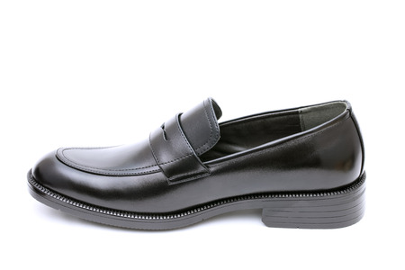 Black leather mens shoe, no shoe string