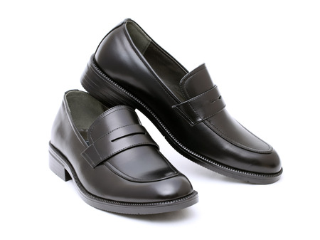 shoe string: Black leather mens shoes, no shoe string Stock Photo