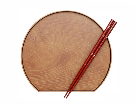 hashi: Chopsticks and plate isolated on a white background