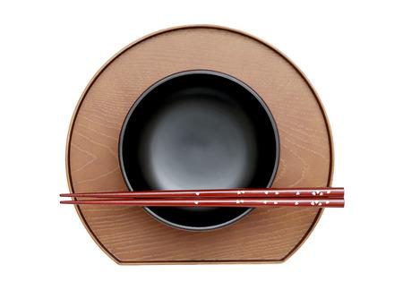 hashi: Japanese rice bowl and chopsticks on white background Stock Photo