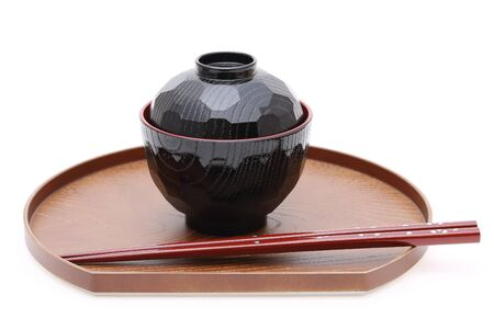 Traditional Japanese bowl and chopsticks photo