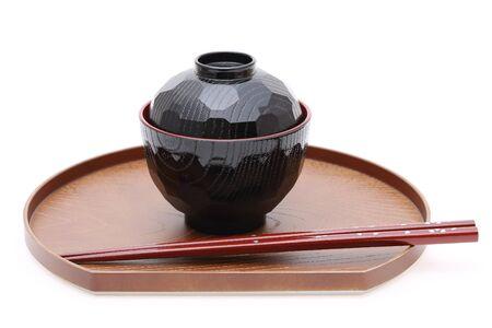 Traditional Japanese bowl and chopsticks photo