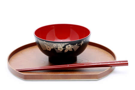 Traditional Japanese bowl and chopsticks photo  sc 1 st  123RF Stock Photo & Traditional Japanese Tableware Isolated On White Background Stock ...