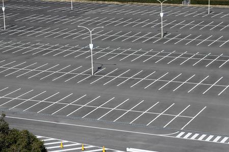 Vacant parking lot, parking lane outdoor in public park Stock Photo