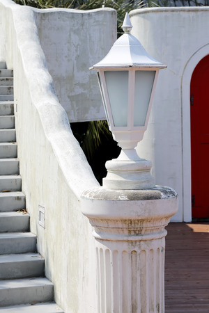 garden lamp: White garden lamp, lamp in a garden