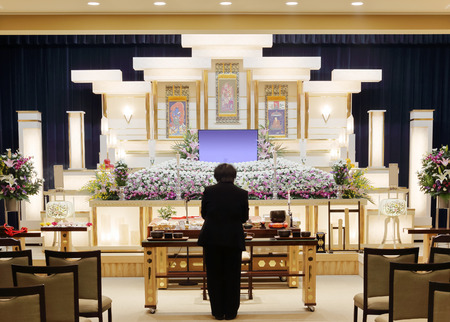 Funeral home interior with a japanese style