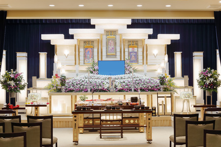 Funeral home interior with a classical wooden coffin 스톡 콘텐츠