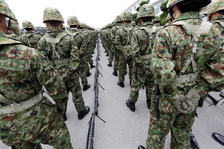 Japanese army parade military force uniform soldier with weapon 스톡 콘텐츠
