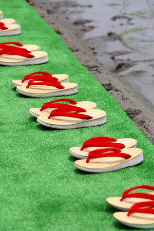 sandalias: Sandalias tradicional japonesa Zori Foto de archivo