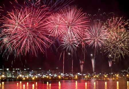 hanabi: beauty of the fireworks reflect on sea water
