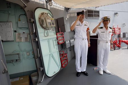 destroyer: KAGAWA, JAPAN-August 05, by 2015; Aegis-equipped Destroyer JS SAMIDARE in Takamatu port, Japan Maritime Self-Defense Force