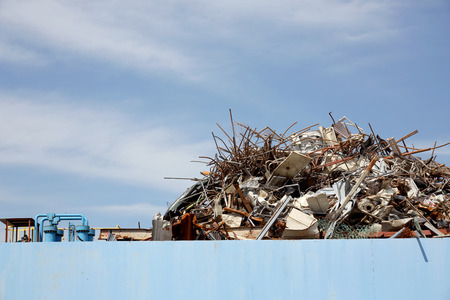 salvage yards: Pile of scrap metal at a recycling facility