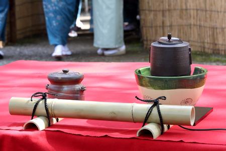 the japanese tea garden: Japanese green tea ceremony in garden Stock Photo
