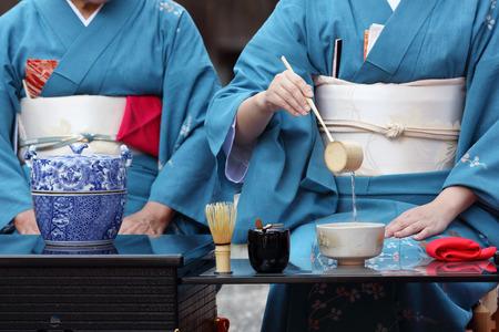 japanese tea garden: Japanese green tea ceremony in garden Stock Photo