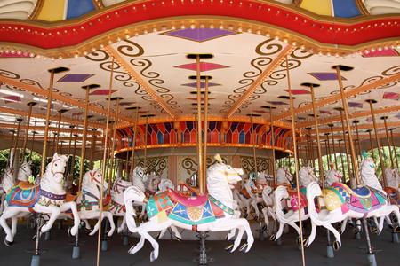 merry go round: Empty carousel merry go round park attraction