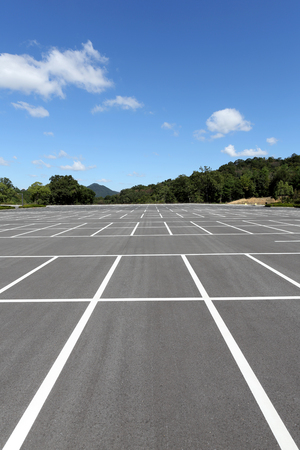 trees  sky: Vacant parking lot, parking lane outdoor in public park Stock Photo