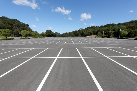 a lot  of: Empty car parking lot with white mark