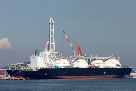 LNG cargo ship docked in the port Stok Fotoğraf