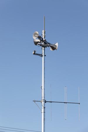 amp tower: Tower of loudspeaker against clear blue sky