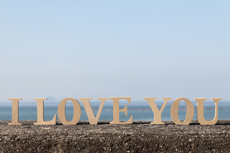 love image: I LOVE YOU made of letters on wooden blocks Stock Photo