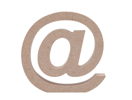 Wooden Email Symbol On Grunge Wood Background Commercial At Symbol
