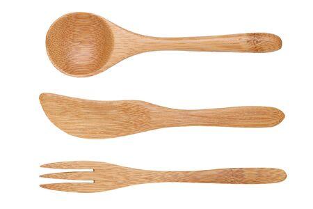 cuillère et fourchette en bois naturel, couteau Banque d'images