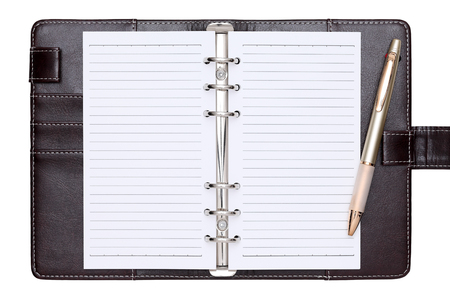 ballpoint: opened brown leather notebook and ballpoint pen Stock Photo