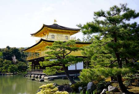 japanese tea garden: Golden Pavilion at Kinkakuji Temple, Kyoto Japan