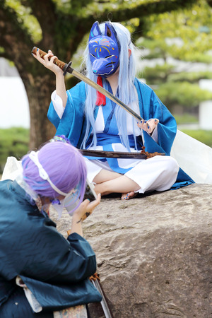 animation teenagers: Marugame, Kagawa, Japan-November 20, 2016: Young japanese girl dressed in cosplay costume at Mamugame-Jou Park. Photo taken in Marugame Cosplay Convention Editorial