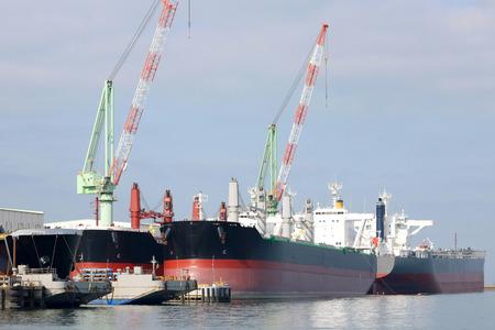 shipbuilding: New building ship in shipyard, in japan