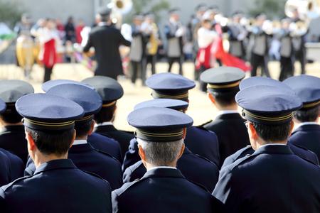 policewomen: Japanese police band perform Stock Photo