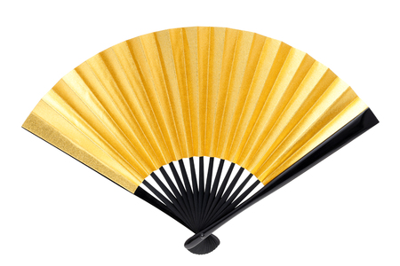 Japanese style golden hand fan the isolated on white background?