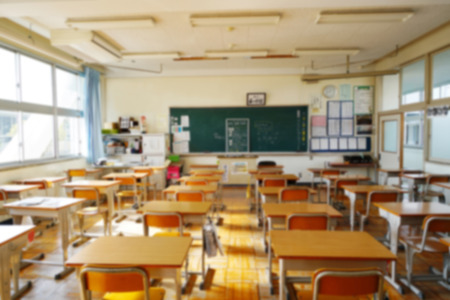 Blurry view in the classroom for lectures in the junior high education institution in the daytime Foto de archivo